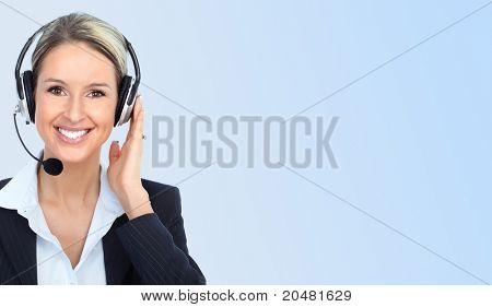 Smiling business woman with headsets. Over blue background