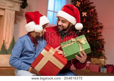 Father And Son With Christmas Presents