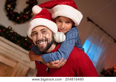 Father And Son In Santa Hats
