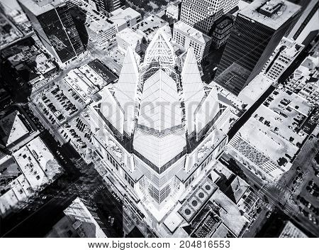 Aerial Drone view looking straight down Deep Perspective Frost Bank Tower Austin Texas Black and white Urban Sprawl City architecture