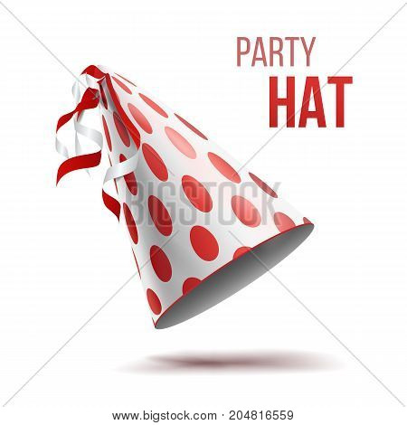 Colorful Party Hat Vector. Twisted Ribbons. Colorful Surprise Costume Isolated Illustration