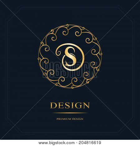 Round Line graphics monogram. Elegant art logo design. Letter S. Graceful template. Business sign identity for Restaurant Royalty Boutique Cafe Hotel Heraldic Jewelry Fashion. Vector elements