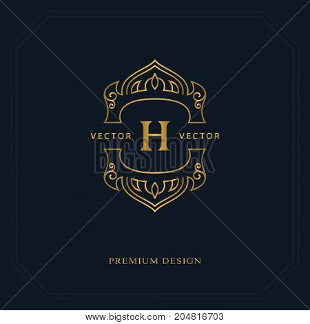 Gold Line graphics monogram. Elegant art logo design. Letter H. Graceful template. Business sign identity for Restaurant Royalty Boutique Cafe Hotel Heraldic Jewelry Fashion. Vector elements