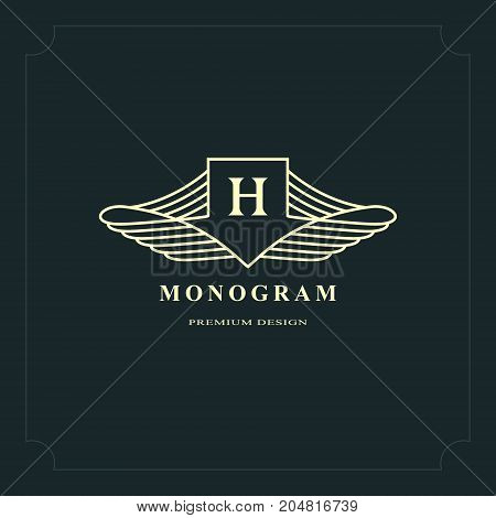 Line graphics monogram. Elegant art logo design. Letter H. Graceful template. Business sign identity for Restaurant Royalty Boutique Cafe Hotel Heraldic Jewelry Fashion. Vector elements