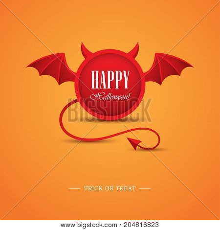 Creative Halloween greeting card or banner design with round frame looking like a devil. Demon horns wings and tail illustration. Hell evil symbol logo.