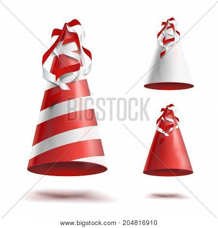 Realistic Party Hat Set Vector. Celebrations Holidays Colorful Festive Caps Isolated Illustration