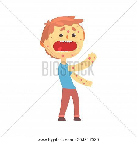 Frightened boy character with a rash on his body cartoon vector illustration isolated on a white background