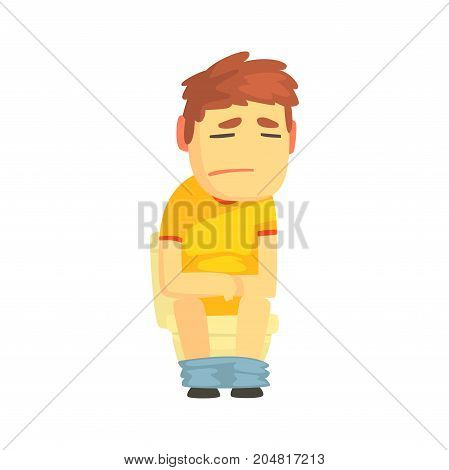 Unhappy boy sitting on toilet suffering of diarrhea and abdominal pain cartoon character vector illustration isolated on a white background