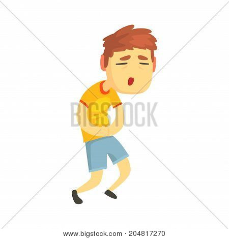 Unhappy boy suffering from stomach ache cartoon character vector illustration isolated on a white background