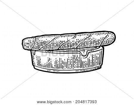 Cigar and ashtray. Vector vintage engraving black illustration isolated on white background.