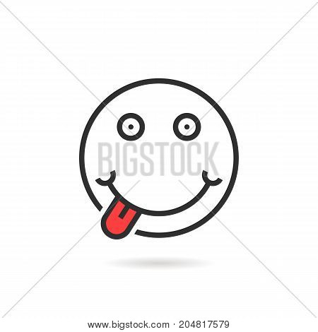 tease thin line emoji icon with shadow. concept of april fool day, foodie, joyful, delicious, humor, gourmet, profile. flat style trend modern logotype design vector illustration on white background