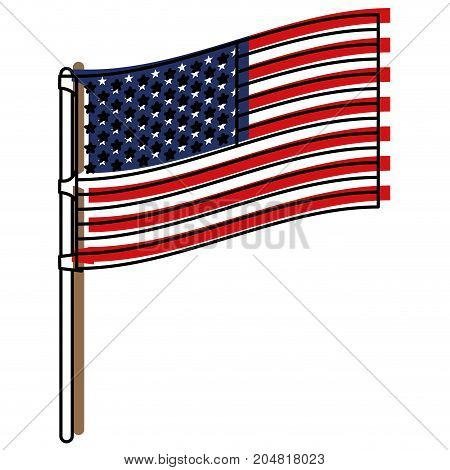 flag united states of america in flagpole to side in watercolor silhouette vector illustration