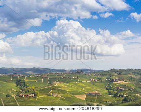 Langhe landscape with sky  in autumn piedmont italy