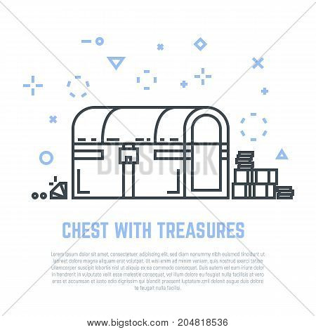 Linear closed chest with lock and treasures. Golden coins money diamonds near chest. Flat style line modern vector illustration with retro colors. Template for banner commercial article or web.
