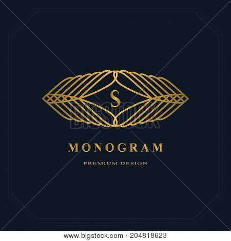 Gold Line graphics monogram. Elegant art logo design. Letter S. Graceful template. Business sign identity for Restaurant Royalty Boutique Cafe Hotel Heraldic Jewelry Fashion. Vector elements