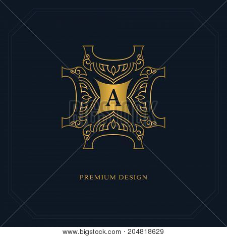 Gold Line graphics monogram. Elegant art logo design. Letter A. Graceful template. Business sign identity for Restaurant Royalty Boutique Cafe Hotel Heraldic Jewelry Fashion. Vector elements