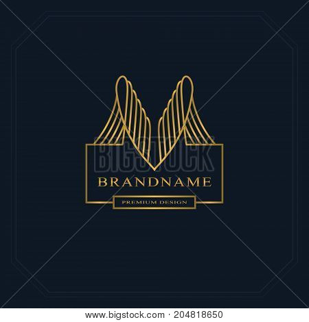 Gold Line graphics monogram. Elegant art logo design. Graceful template. Business sign identity for Restaurant Royalty Boutique Cafe Hotel Heraldic Jewelry Fashion. Vector elements