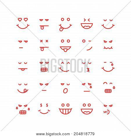 red thin line emoji icons. concept of cute avatar, yummy, depression, tasty, sticker, lol, laugh, facial sad, sense. flat style trend modern logotype design vector illustration on white background