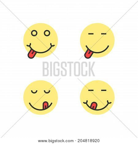 yellow thin line yummy emoji faces. concept of taste, sense, satisfied, diet, nutrition, facial, tease, dessert. flat style trend modern logotype design vector illustration on white background