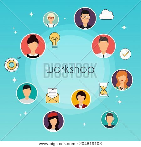 Workshop concept illustration. Team building workshop training skill. Communication Systems and Technologies.
