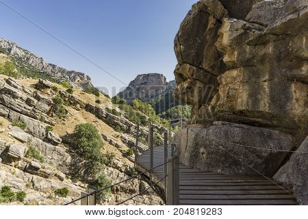 Caminito del Rey - mountain hiking trail. Malaga province. Spain.