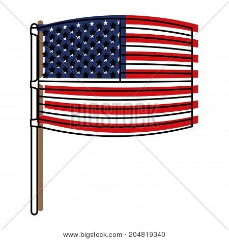 flag united states of america wave out design in flagpole and watercolor silhouette vector illustration