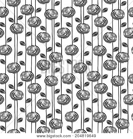 Abstract floral seamless pattern with roses. Trendy hand drawn textures. Modern abstract design for paper, cover, fabric, interior decor and other users.