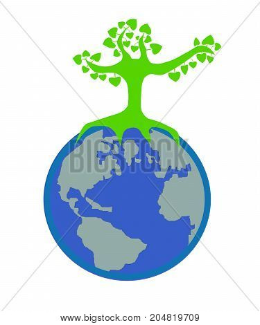 Heart leaves of light green tree on the Earth, mean : Save the world with your heart by planting trees.