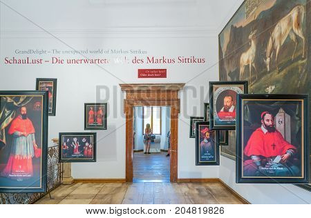Salzburg Austria - August 3 2016: Ancient portraits in a hall of the Hellbrun palace