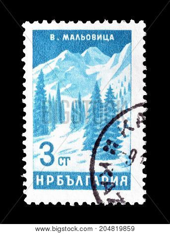 BULGARIA - CIRCA 1964 : Cancelled postage stamp printed by Bulgaria, that shows Pines Malovica Peak.