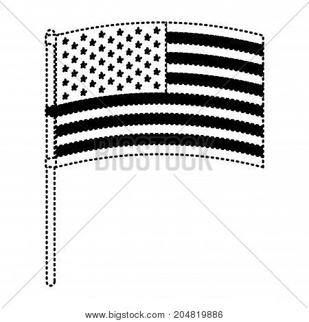 flag united states of america in flagpole waving black silhouette dotted vector illustration