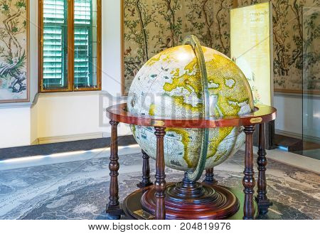 Salzburg Austria - August 3 2016: An ancient globe in a hall of the Hellbrun palace