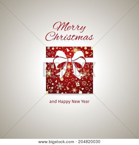 Christmas greeting card, gift box with ribbon, vector illustration with well organized layers