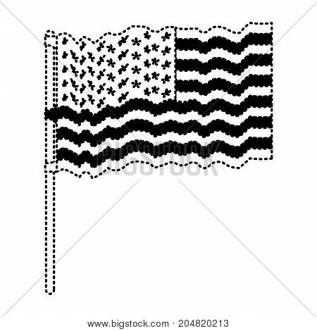 flag united states of america waving in flagpole and black silhouette dotted vector illustration