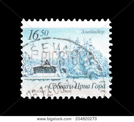 SERBIA AND MONTENEGRO - CIRCA 2005 : Cancelled postage stamp printed by Serbia and Montenegro, that shows mountain Zlatibor.
