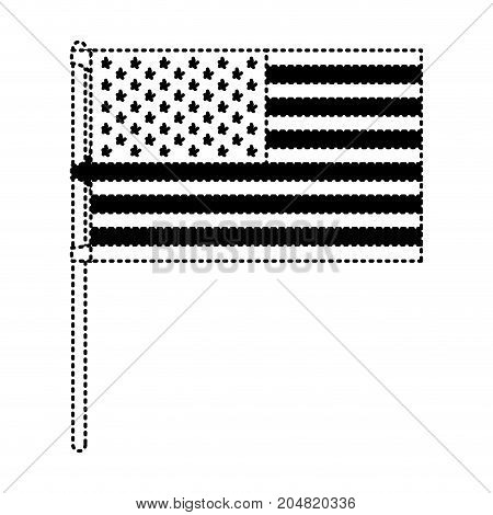 flag united states of america in flagpole and black silhouette dotted vector illustration