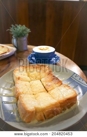 toast with butter and sweetened syrup topping