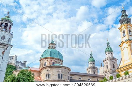 Austria Salzburg panoramic view of the domes and bell towers in the old town seen from Mozart square