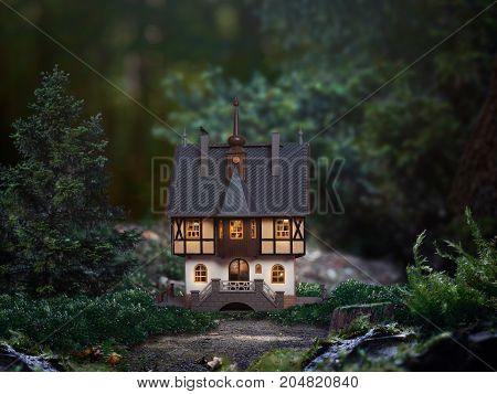 Fabulous little castle is in the woods. The light in the windows