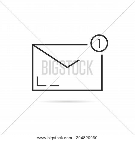 black thin line notification email. concept of user interface, ui, mailbox spam, 1 dispatch verification, online support. outline style trend modern logo design vector illustration on white background