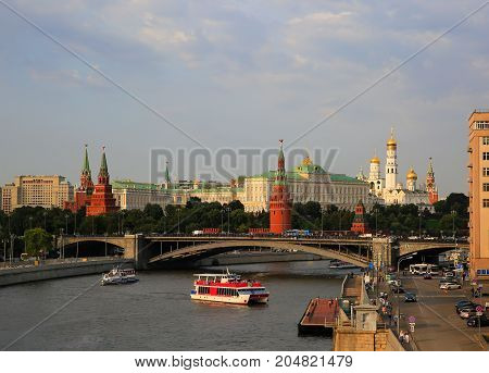 Moscow river and Kremlin in Moscow Russia