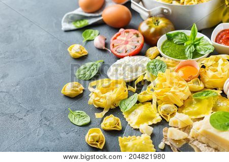 Italian Food And Ingredients, Ravioli Pasta Tortellini Pesto Tomato Sauce