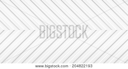 Volume realistic embossing texture, arrow, corner strips, white 3d geometric pattern, design vector light background