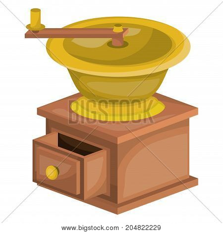 coffee grinding with crank side view in realistic colorful silhouette on white background vector illustration