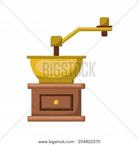 coffee grinding with crank in front view and realistic colorful silhouette on white background vector illustration