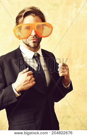 Funny Manager In Elegant Black Business Suit