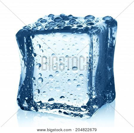 Transparent blue ice cube with water drops isolated on white background. Closeup of cold crystal block cutout