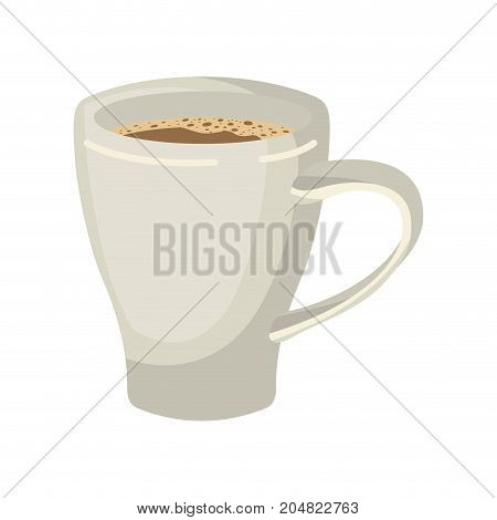 porcelain mug of coffee with handle in realistic colorful silhouette on white background vector illustration