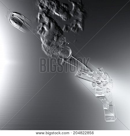 Digital 3D Illustration Of A Smoking Colt