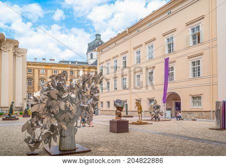 Salzburg Austria - August 4 2016: Modern art sculptures in the University courtyard